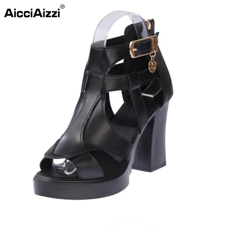 Ladies High Heel Sandals Women Gladiator Thick Heels Sandal Hallow Out Party Summer Shoes Vacation Leisure Footwears Size 35-39