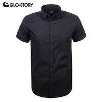 GLO STORY Men's 2018 Short Sleeve Black White Plus Size Dress Shirt Men Formal Summer Camis Blouse Shirt Tops 3XL 4XL 5XL 6XL