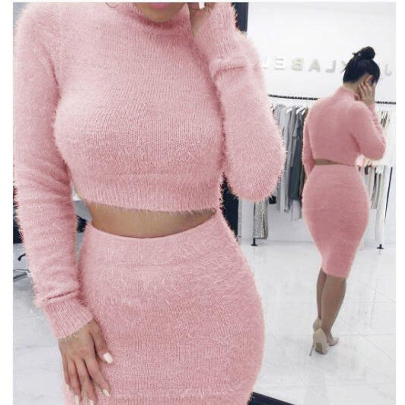 Two Piece Set Women Sweater +Pencil Skirt Suit Long Sleeve Fleece Crop Tops Bodycon Skirt 2 Pieces Set Women Knitted Tracksuit