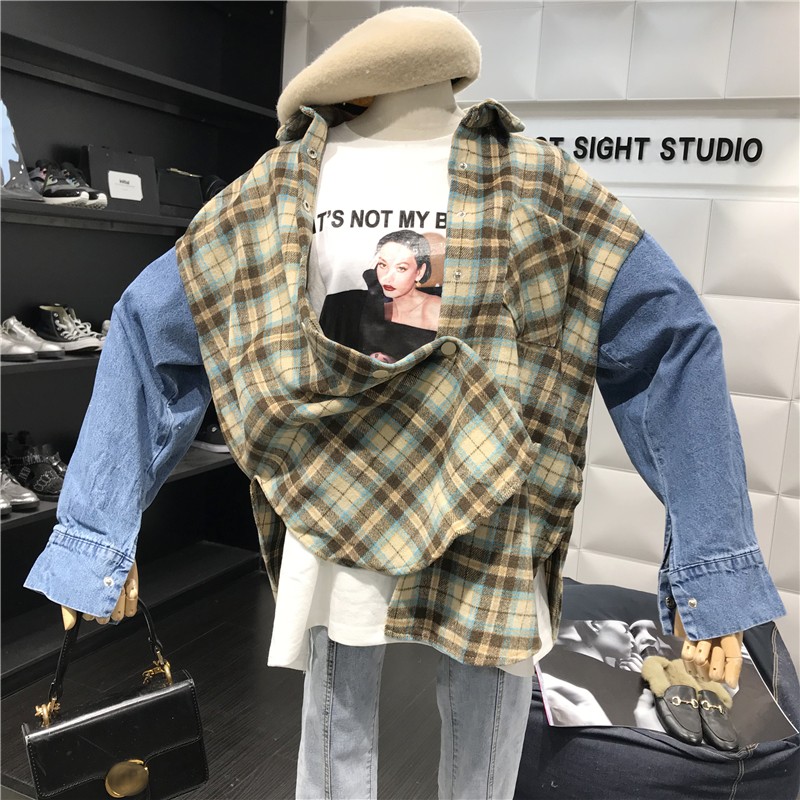 Vintage Woolen Plaid Stitching Jeans Long Sleeve Shirts  2