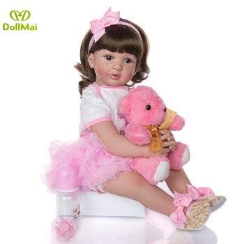 "24"" Realista Silicone Reborn bebe Toddler Girl Doll Toys 60cm Princess Like Alive reborn bonecas Brinquedos child Birthday Gift"