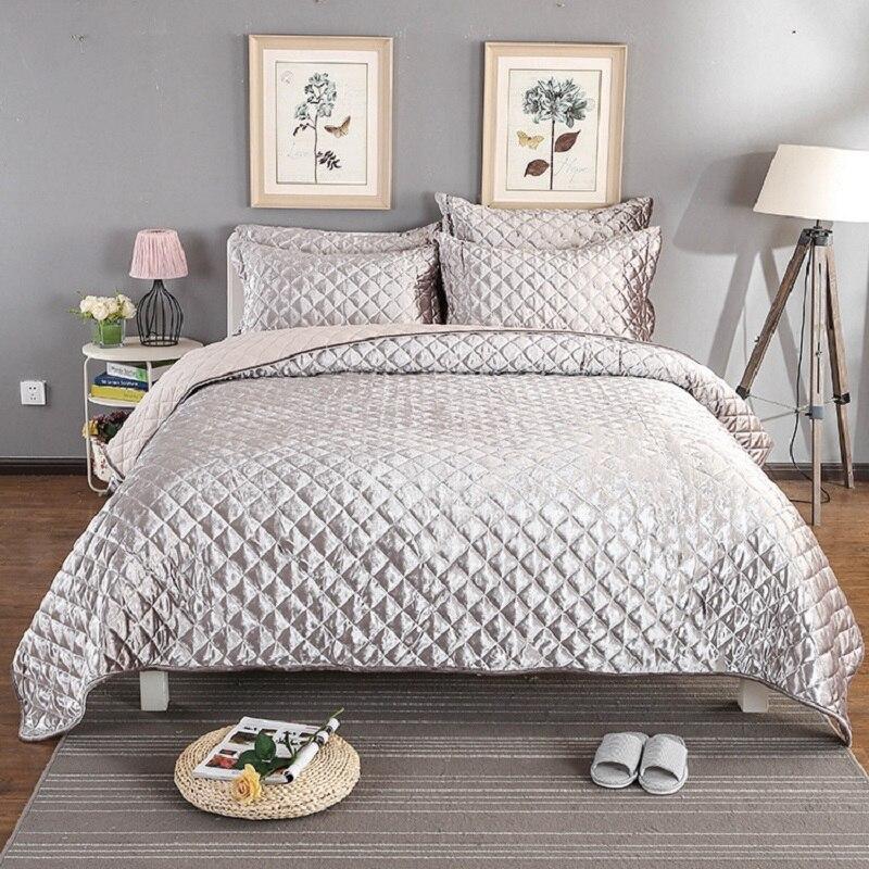 Argento Bianco Rosa Copriletto Queen size Bed Cover set Copriletto Letto set Estate Trapunte Coperta Federe 3 pz set