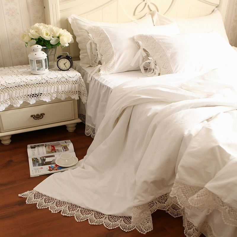 Luxury Tribute Silk Princess Bedding Set Queen King 4pc Snow White Duvet Quilt Cover Lace Bed