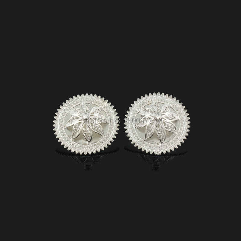Newest Ethiopian Crystal Pendant/Earrings/Ring/Necklace Jewelry Silver Plated Habesha Jewelry African 4PCS Wedding Jewelry Sets