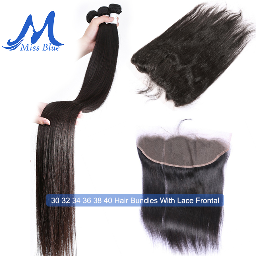 Missblue Brazilian Virgin Human Hair Bundles With Closure Straight 32 36 38 40 inch 3 Bundles