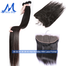 Brazilian Hair Weave Bundles With Closure Straight 32 34 36 38 40 inch Human Hair Bundles With Lace Frontal 13x4 Transparent