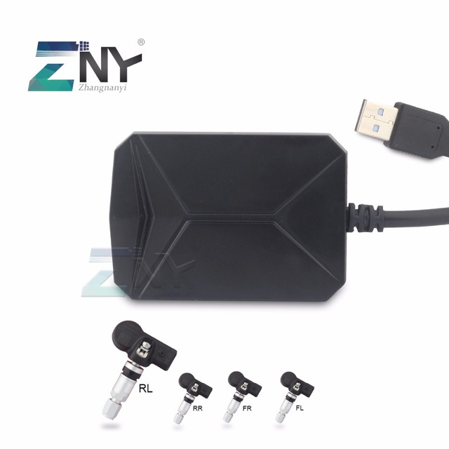 ZNY Wireless Tire Pressure Monitoring For Android Car Player Bluetooth / USB TPMS Auto Alarm System With 4 Sensors