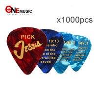 1000Pcs Mix color Celluloid Guitar Picks with JESUS Romans 10:13 Printing 0.71mm guitar pick