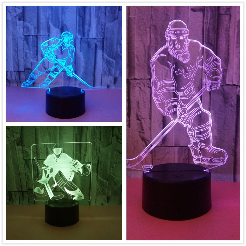 3 Styles Novelty Lighting Hockey Player Ice Player 3D LED Night Light Touch USB Lamp Holiday Gifts Table Desk Light For Kids 3d luminous ice hockey player shape led table lamp 7 colors changing home living room decor light fixture baby sleep night light