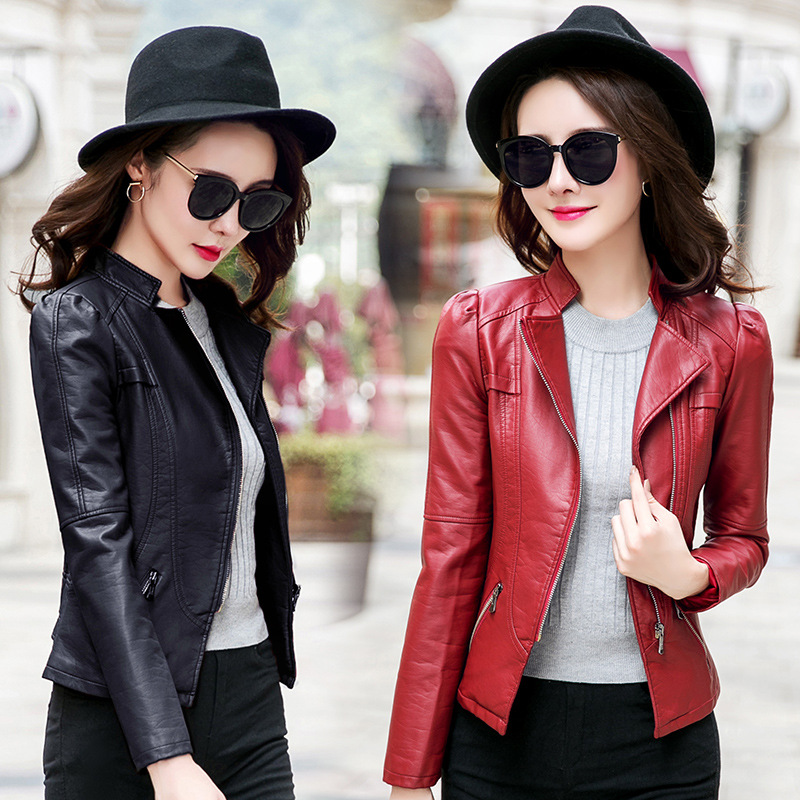 high quality new spring women leather jacket black plus size fashion design women PU jacket coat pink red motor short jackets