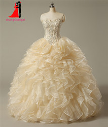 New sweetheart champagne quinceanera dresses 2017 ball gown with pearls crystal cheap quinceanera gowns long prom.jpg 250x250