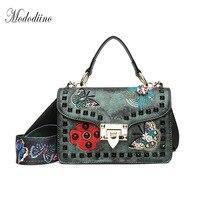 Mododiino European Vintage Multifunction Women Handbag Embroidery Pattern Rivet Shoulder Bag Wide Belt Big Tote Bags DNV0990