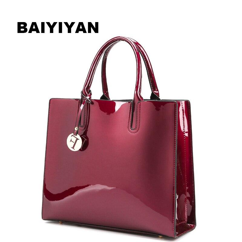 Neue Mode frauen Handtasche hohe qualität Patent Leder Damen Schulter Tasche Retro Tote Tasche Abend Taschen