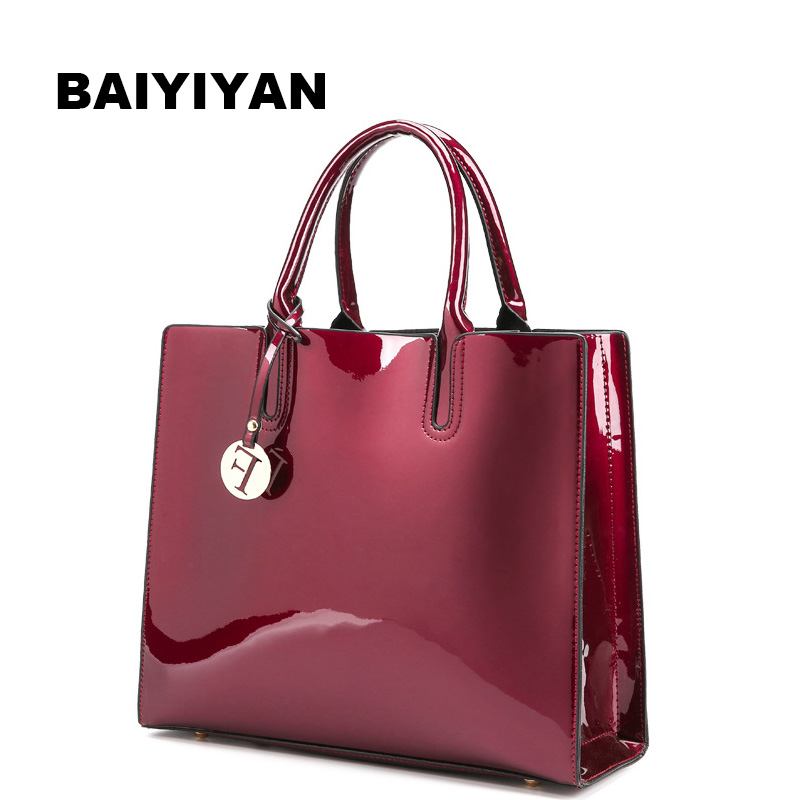 New Fashion Women's Handbag high quality Patent Leather Ladies Shoulder Bag Retro Tote Bag Evening Bags
