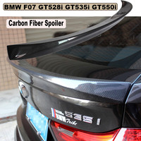 HLONGQT Carbon Fiber Spoiler For BMW 5 Series GT F07 528 535 550 2010-2017 High Quality Car Rear Wing Spoilers Auto Accessories