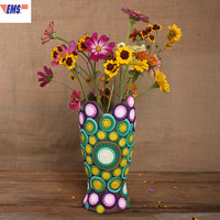 European Style Abstraction Starry Sky Polymer Clay Arrange Flowers Vase Statue Craftwork Living Room Desktop Decoration X1681
