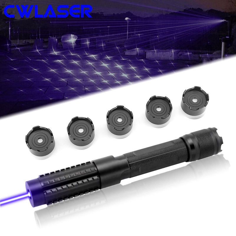 CWLASER Powerful 5000m Burning Laser Military Laser 5-in-1 405nm Focusable Violet-Blue Laser Pointer with Luxury Case (Black)