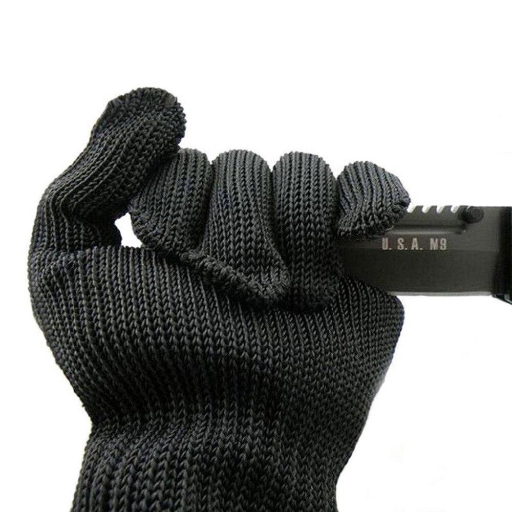 черный защитные перчатки 1 пара порезов ножом устойчив проволока из нержавеющей стали металлической сетки мясник анти-ножи