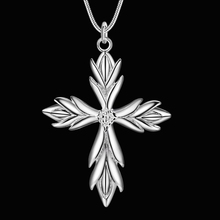 Seanuo 925 sterling Silver Jesus lord cross pendant Necklace for men women fashion angle wing snake chain choker necklace bojoux