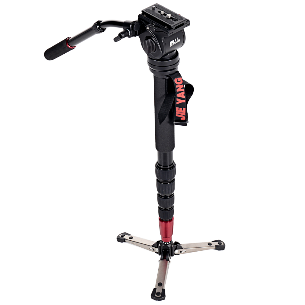 JIEYANG JY-0506 Aluminum Professional Monopod  Video tripod for camera  with Tripods Head Carry Bag Free Shipping JY0506 professional dv camera crane jib 3m 6m 19 ft square for video camera filming with 2 axis motorized head