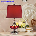 Creative Fashion Wine Red Glass Fabric E27 Dimmerabla Table Lamp for Wedding Decor Bedroom Bedside Living Room AC 80-265V 1198