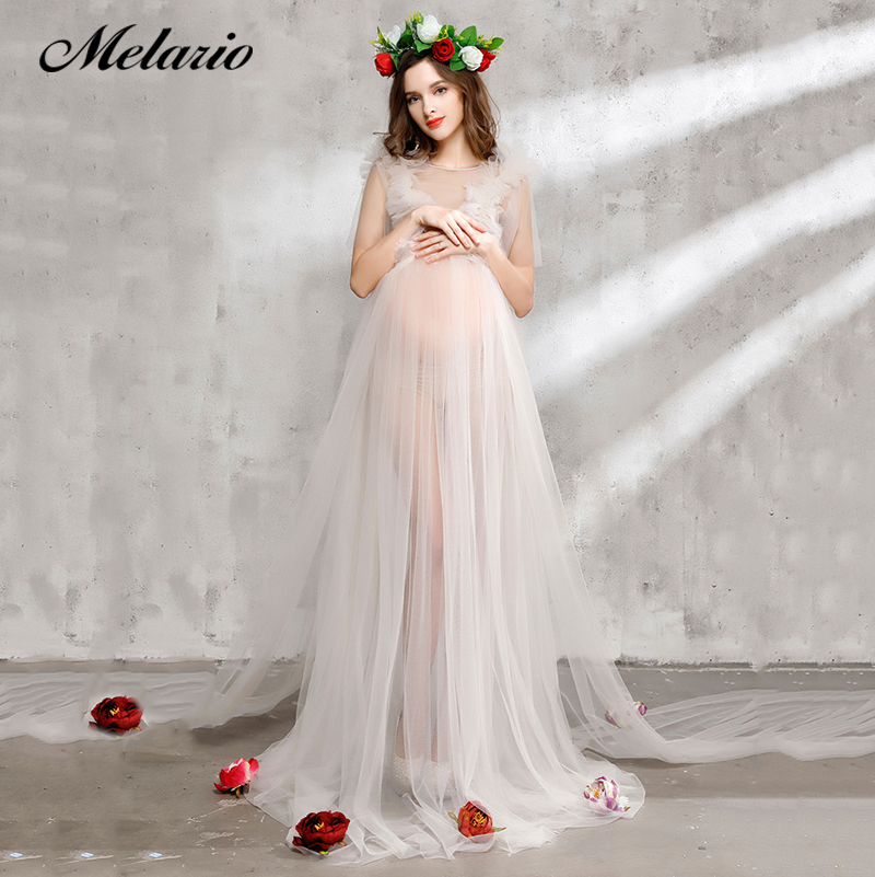 Melario Maternity dress 2017 Maternity Photography Props Maternity Flower Dress Sleeveless Voile Summer Pregnant Dress smdppwdbb maternity dress maternity photography props long sleeve maternity gown dress mermaid style baby shower dress plus size