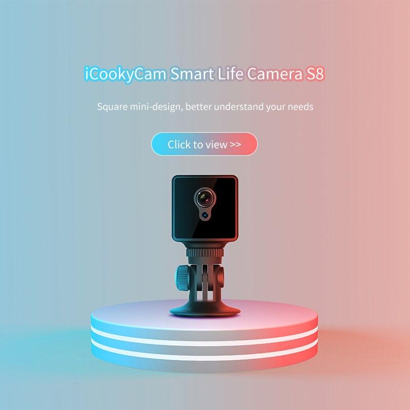S8 Mini Câmera IP Wi Fi de Segurança Em Casa Câmera de Vigilância  de Rede Sem Fio Wifi Night Vision Baby Monitor Câmera 8 horas de  trabalhoCâmeras de vigilância