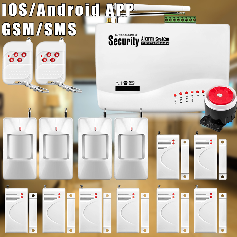 Etiger 75Kit Home Alarm Systems 850/900/1800/1900 Wireless GSM SMS Burglar PIR Voice APP Remote Control Set Arm/Disarm etiger hd network camera etiger s4 burglar alarm gsm sms security system for home office