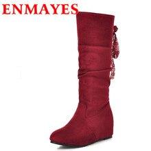 ENMAYESขนาดใหญ่34-43ใหม่ขัดเข่าผู้หญิงรองเท้าสูงแฟชั่นส้นซ่อนรอบนิ้วเท้ากลางลูกวัวบู๊ทส์สีแดงสีดำสีฟ้ารองเท้าผู้หญิง