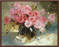 New Wall Art Frameless Pictures Painting By Numbers Of Pink Flower DIY Canvas Oil Painting Home