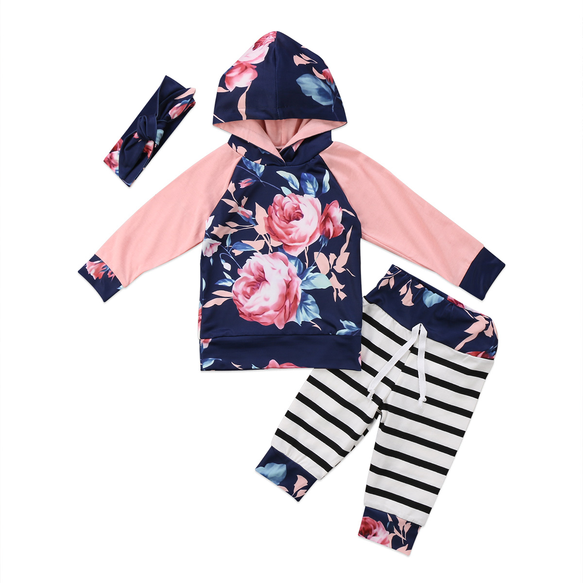 3PCS Toddler Baby Girl Winter Clothes Hooded T-shirt Tops+Pants Kids Outfits Set