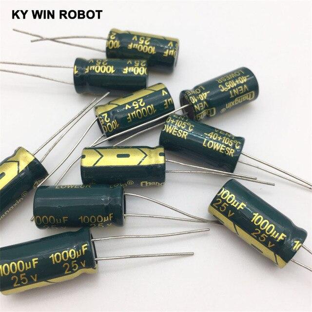 شحن مجاني 10 قطعة مكثف كهربائي من الألومنيوم 1000 فائق التوهج 25 فولت 10*20 مكثف كهربائيا رائج البيع