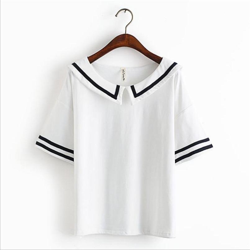 Merry Pretty Female Summer T Shirt Navy Sailor Style Cotton T Shirt Women Tops Cute Japanese