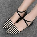 Designer Shoes Women Shoes Plain Mori Girl Plus Size Cross Strap Canvas Striped Size 4 Black And White Stripe Nubuck Leather
