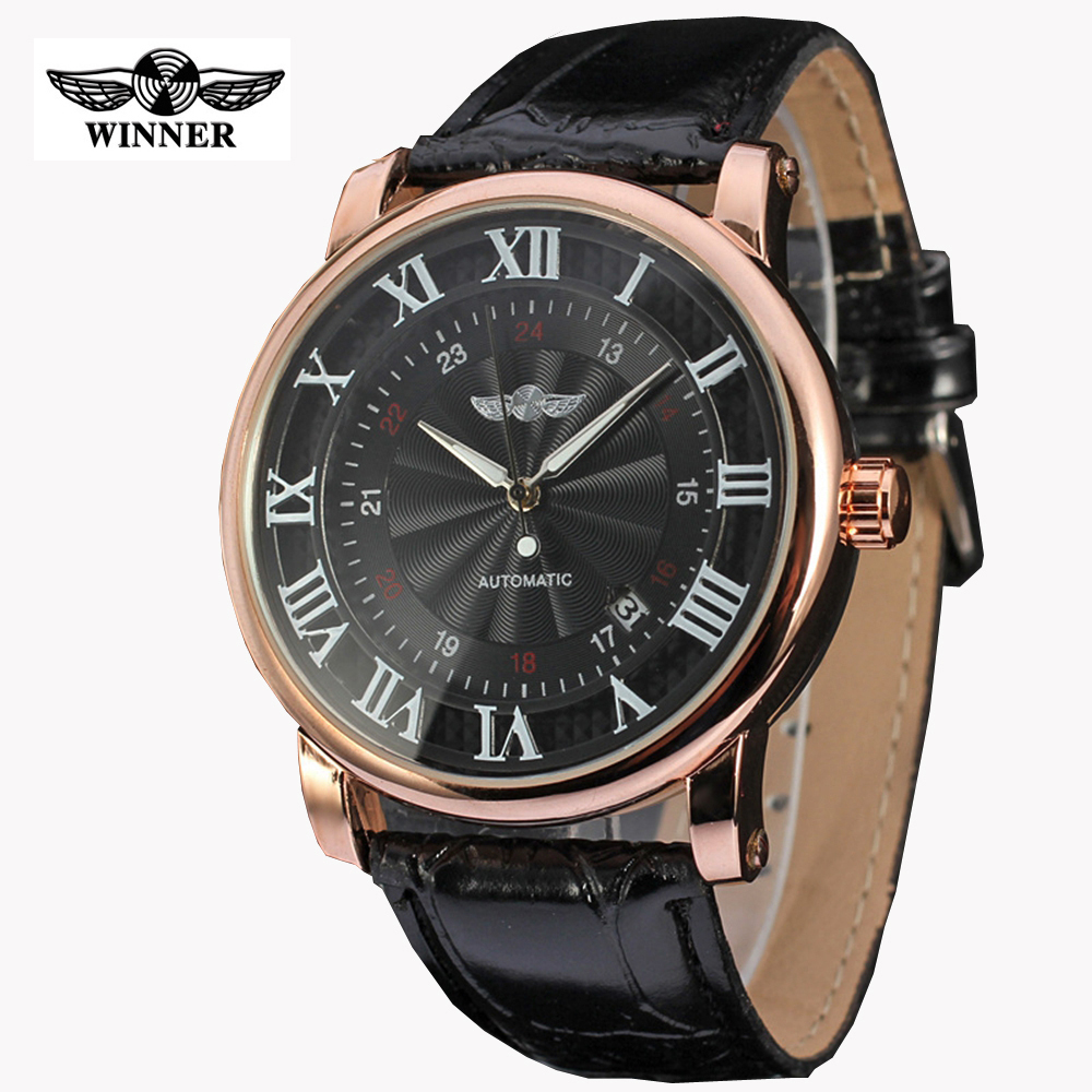где купить  WINNER Watches Classic Mens AUTO Date automatic Mechanical Watch Self-Winding Analog Skeleton Brown Leather Man Wristwatch  по лучшей цене