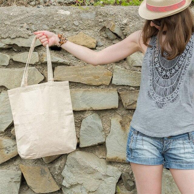 New Eco Cotton Tote Reusable Women Storage shoulder Shopping Bag Beach Handbags Grocery fruit bags CT001 4