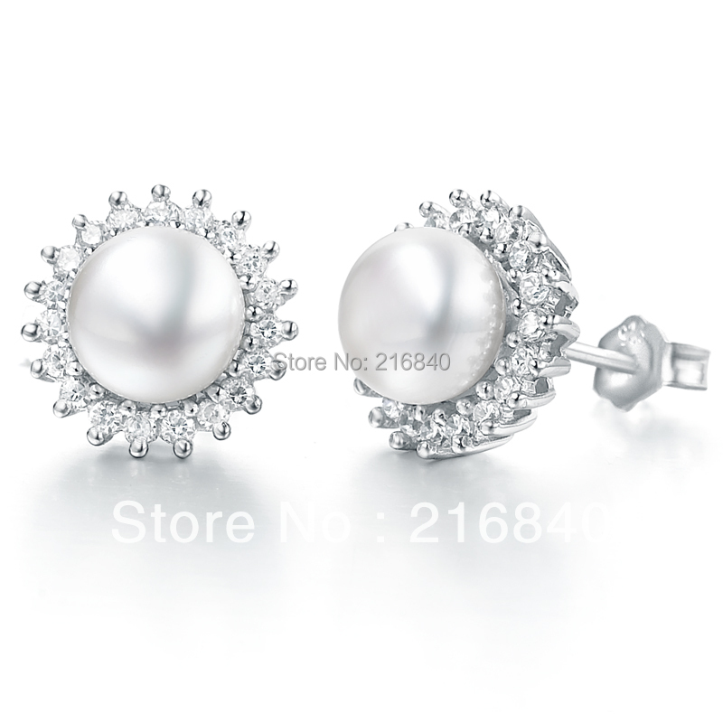 Natural Pearl Stud Earring 925 Sterling Silver Classic Woman Fashion Fine Elegant Jewelry Queen Girl Birthstone Gift SE0065PL