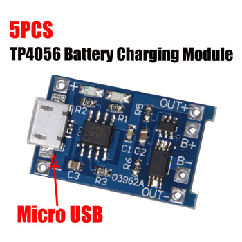 5Pcs TP4056 5V 1A Micro USB 18650 Lithium Battery Charging Board Charger Module Protection Dual Functions for arduino Diy Kit 100pcs micro usb 5v 1a 18650 tp4056 lithium battery charger module charging board with protection dual functions