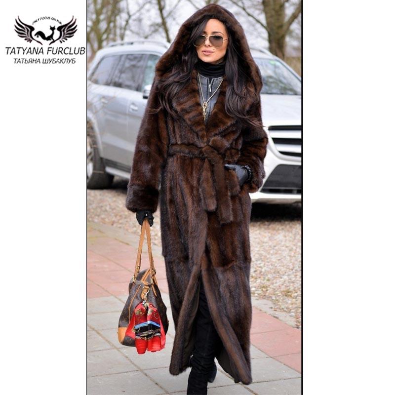 2018 Новое X-длинный мех норки пальто Для женщин 120 см до лодыжки Тонкий норки пальто с поясом из натуральной кожи модные кожаные норки пальто
