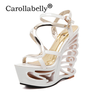2018 Carollabelly Platform High Heel 16cm White Black Summer Sexy Club Night Style Wedges Heels Sandals Party Shoes