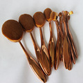 10PCS Rose Gold Toothbrush Shape Oval Makeup Brush Set MULTIPURPOSE Professional Foundation Powder Brush Cosmetic Kits With Box