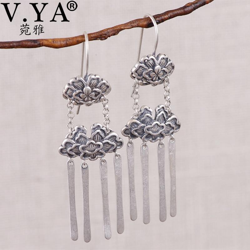 V.YA S925 sterling silver tassel earrings Elegant Large Earrings tassel dangle Earrings retro drop long earrings for womenV.YA S925 sterling silver tassel earrings Elegant Large Earrings tassel dangle Earrings retro drop long earrings for women