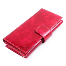 Fashion Women Wallets Genuine Leather Solid color mini Top grade Oil Wax Cowhide Long Female zipper hasp Clutch bag Card Holder