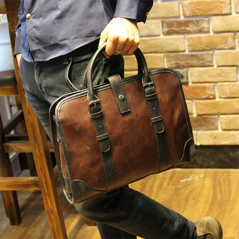 Crazy Horse Leather Handbag Bag New font b Men s b font fashion business bag