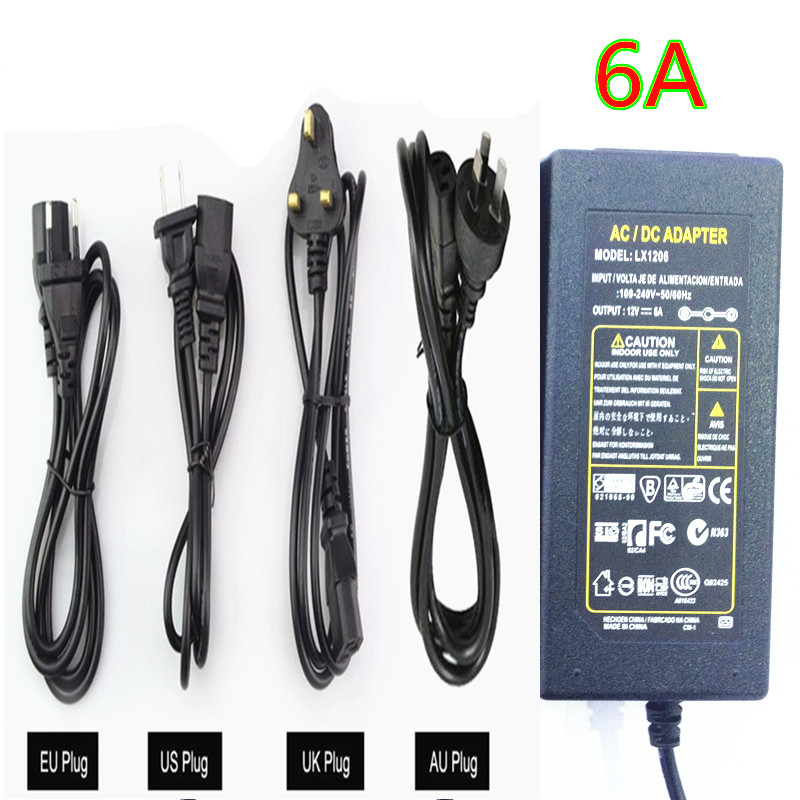 Transformers DC 12V 6A Adapter Power Supply + Cord For 5050 3528 LED Rigid Strip Light LED Display LCD Monitor 10PC/LOT