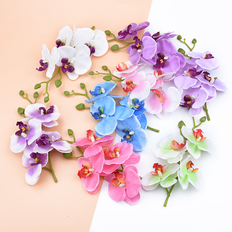 4pcs/bundle Home decoration accessories decorative flowers wreaths Silk Butterfly orchid vases for home decor artificial flowers