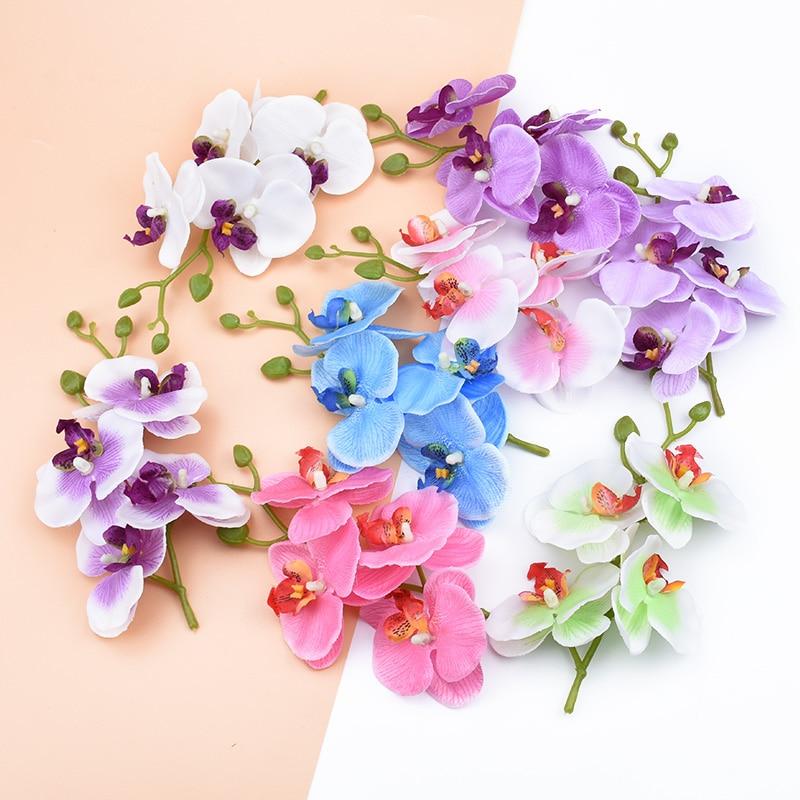 4pcs/bundle Home decoration accessories decorative flowers wreaths Silk Butterfly orchid vases for home decor artificial flowers