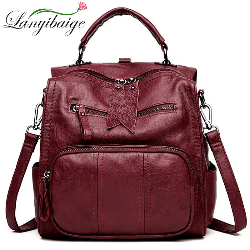 Women Leather Backpacks High Quality Ladies Multifunctional Bagpack Luxury Designer Large Capacity Casual Daypack Girl Mochilas