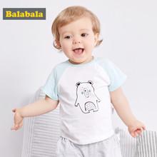 Balabala Short Sleeves Cotton Tops Newborn tshirt Baby Boys Funny Cartoon Detachable Bib T shirts 2018 Summer(China)
