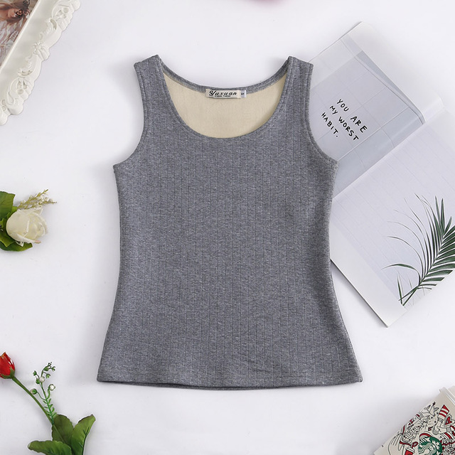 New Arrival 2018 Winter Spring Women Sexy Fashion Casual Tank Tops Solid Camis Slim Fit Female Add Velvet Warm Top CT022
